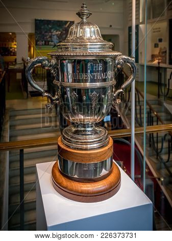 London, United Kingdom - June 26, 2016: Prudential Cup Trophy Kept At Mcc Cricket Museum At Lord's C