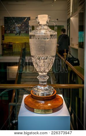 London, United Kingdom - June 26, 2016 : The Ashes Thophy Which Was Presented By Marylebone Cricket