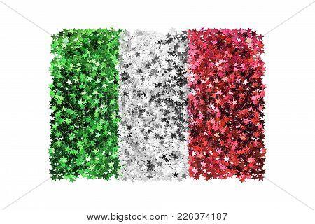 Metallic Stars Glitter In Colors Of Italian National Flag Isolated Over White