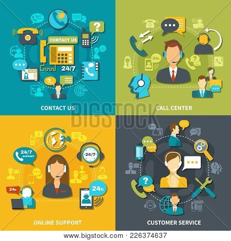 Call Center Design Concept With Customer Service, Online Support, Contact Us Isolated Vector Illustr