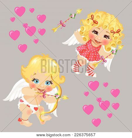 Two Baby Cupid. Vector  Valentine, Beautiful, Background.