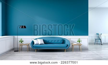 Minimalist Interior Of Living Room, Blue Sofa With Wood Table And Black Lamp On Wood Flooring And De