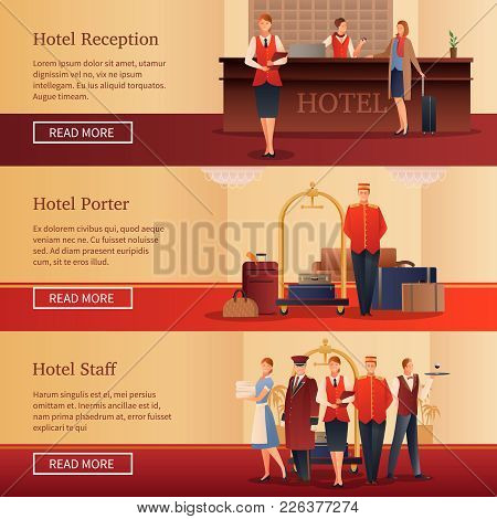 Hotel Personnel Set Of Flat Horizontal Banners With Administrator At Reception, Porter With Baggage