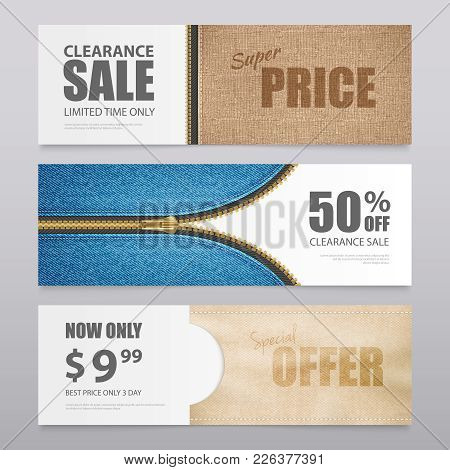 Cloth Textile Clearance Sale Special Offer 3 Horizontal Advertisement Banners With Realistic Fabric