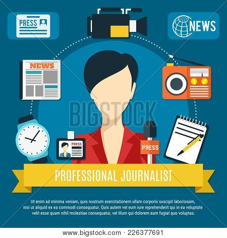 Professional Journalist Background With News Anchorwoman Character Press Microphone Radio Receiver F