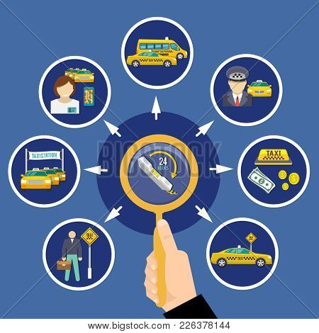 Taxi Conceptual Composition With Round Images Of Taxi Provider Cabs And Twenty Four Hour Order Picto