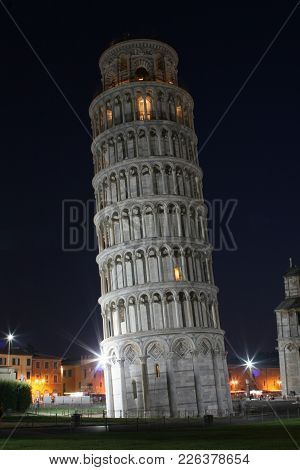 Summer. Italy. Pisa. Night View Of The Tower Of Pisa
