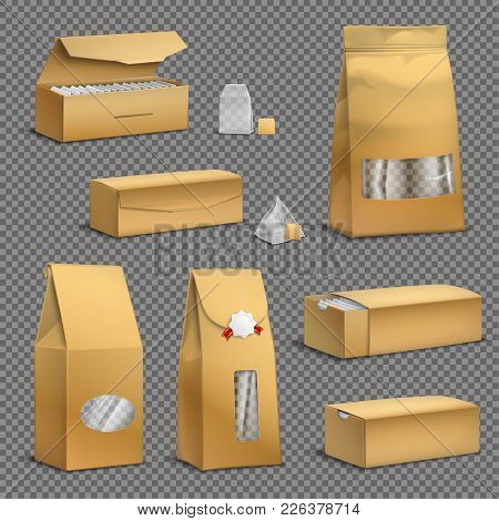 Brown Kraft Paper Tea Bags And Loose Leaves Packs Boxes Packages Realistic Set Transparent Backgroun