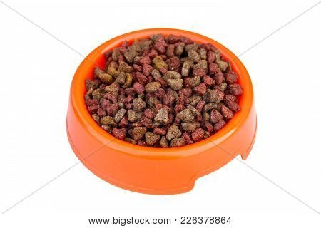 Dry Cat Food In Orange Bowl. Pet Food Isolated On White Background. Top View
