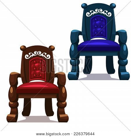 Two Massive Vintage Chairs. Vector Illustration Drawing.