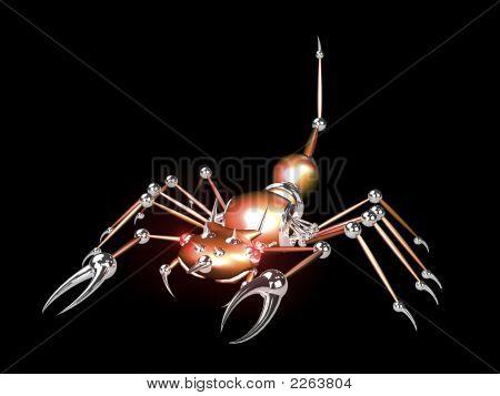 3D Robotic scorpion orange on black background poster