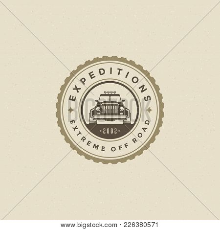 Off Road Car Logo Emblem Vector Illustration. Outdoor Extreme Adventure Expedition, Safari Suv Silho