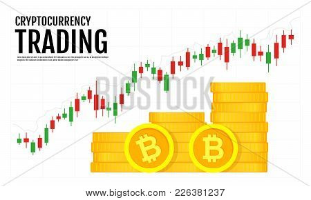 Crypto Currency Trading Strategy. Graphic Diagram And Cryptocurrency Isolated On White Background. T