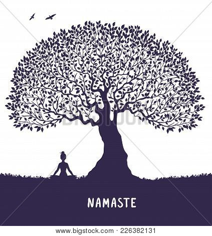 Silhouette Of Beautiful And Amazing Big Tree With Woman Sit In Lotus Pose. Practicing Yoga. Vector I