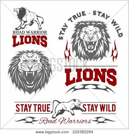 Vector Set Of Illustrated Lions Themed Sport Logo, Patch, Icon, Or Badge With Various Style On White