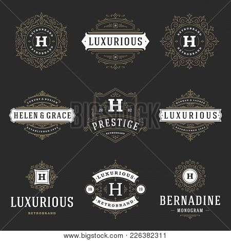 Luxury Logos Templates Set, Flourishes Calligraphic Elegant Ornament Lines. Business Sign, Badges An