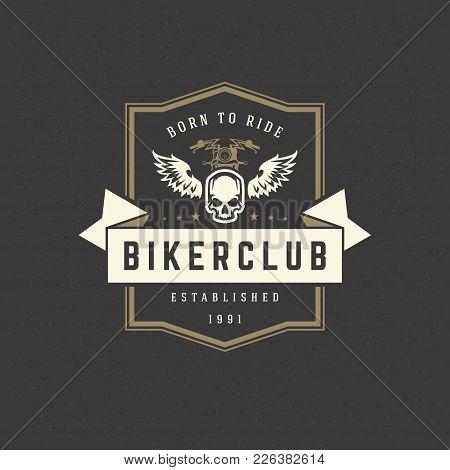 Motorcycle Club Logo Template Vector Design Element Vintage Style For Label Or Badge Retro Illustrat