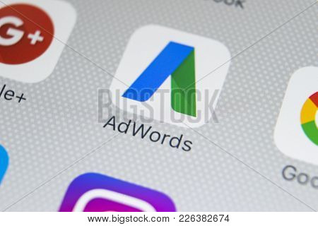 Sankt-petersburg, Russia, February 9, 2018: Google Adwords Application Icon On Apple Iphone X Screen