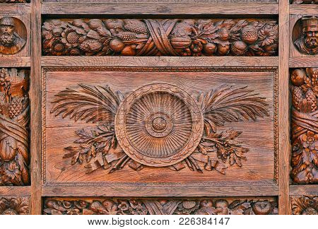 Detail Of A Carved Pattern On The Wooden Door Of The Basilica Di Santa Croce (basilica Of The Holy C