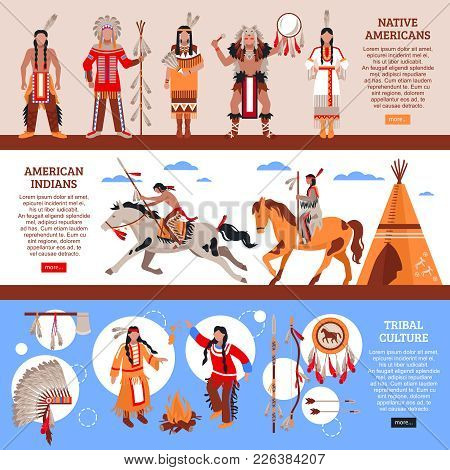 Native Americans Horizontal Banners With Indians In National Clothes Wigwam And Element Of Tribal Cu