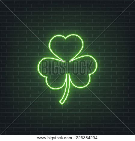 Saint Patrick's Day. Neon Glowing Sign Of Three Leaves Clover Leaf. Saint Patrick Neon Set