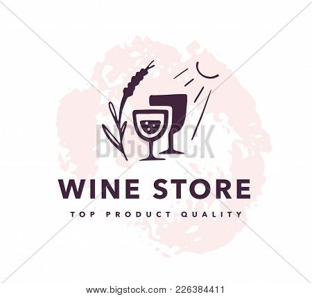 Vector Wine Alcohol Logo Set Isolated On White Background. Hand Drawn Wine Glass, Elements, Icons. P