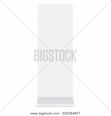 Outdoor Advertising Blank Stand Banner Mockup - Front View. Signage Isolated On White Background. Te