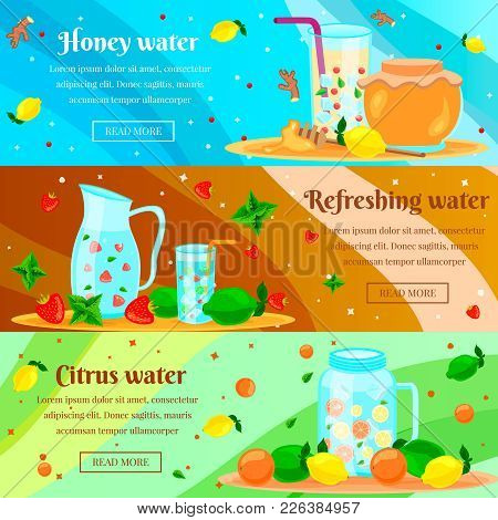 Detox Honey Citrus Water Cleansing Body Burning Fat For Rapid Weight Loss Flat Horizontal Banners Se
