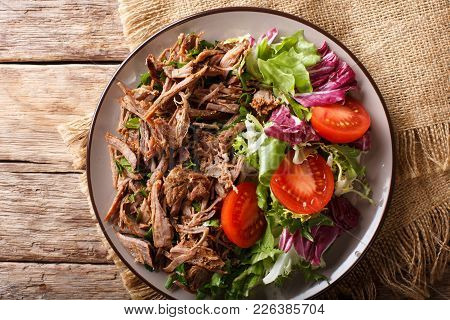 Healthy Lunch: Tender Beef With Vegetable Salad Close-up On A Plate. Horizontal Top View From Above