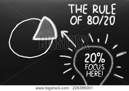 Business Concept. The Rule Of 80 20. Graph Of Paretto Principle.