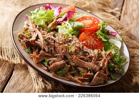 Healthy Lunch: Tender Beef With Vegetable Salad Close-up On A Plate. Horizontal