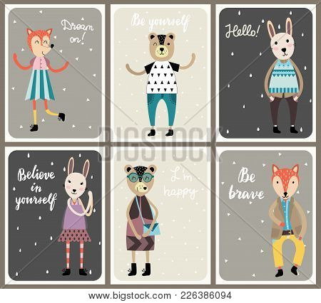 Cards With Cute Fashion Animals Set. Scandinavian Style Hand Drawn Vector Illustration.