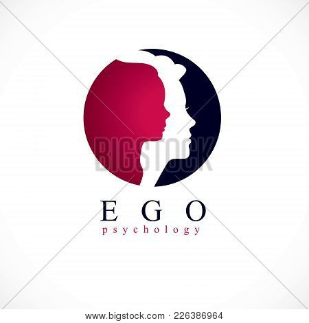 Psychology Vector Logo Created With Woman Head Profile And Little Child Girl Inside, Inner Child Con