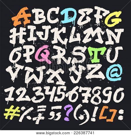 Alphabet Graffity Vector Alphabetical Font Abc By Brush Stroke With Letters And Numbers Or Grunge Al