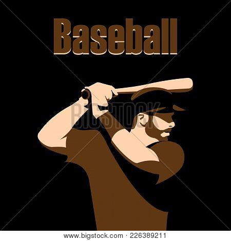 Baseball Player With Bat. Template For Sports Banner Or Printing On T-shirts Or Clothes. Vector Illu