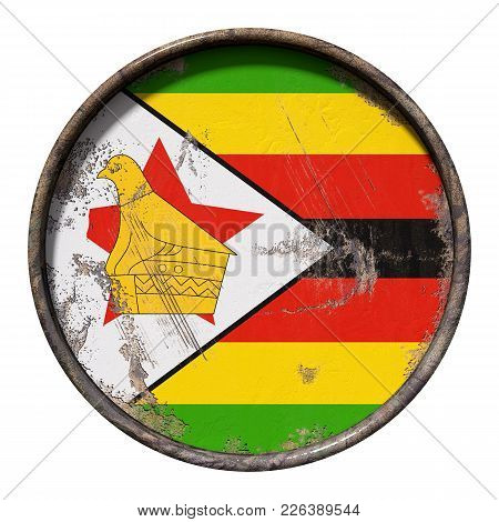 3d Rendering Of A Republic Of Zimbabwe Flag Over A Rusty Metallic Plate. Isolated On White Backgroun