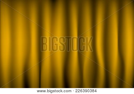 Yellow Curtain With Frame For Background And Texture.