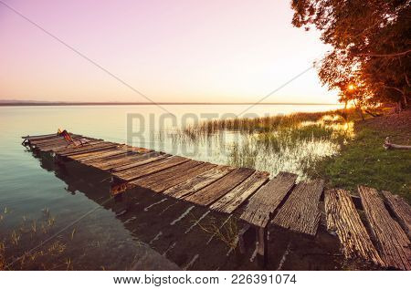 Sunset scene at the lake Peten Itza, Guatemala. Central America.