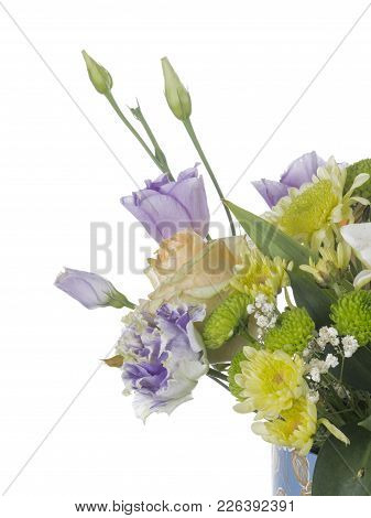 Delicate Fragile Bouquet Of Rose Flowers, Chrysanthemums, Eustomams In Blue Box With Floral Ornament