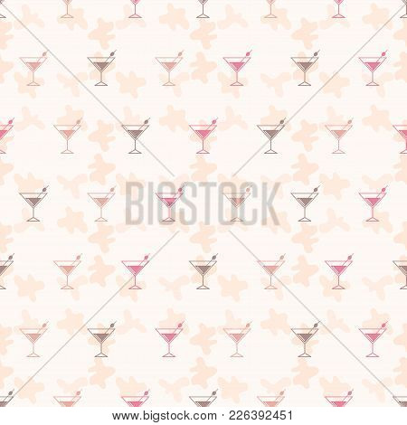 Seamless Pattern Background Alcoholic Beverages. Alcohol Vector. Tequila Wallpaper