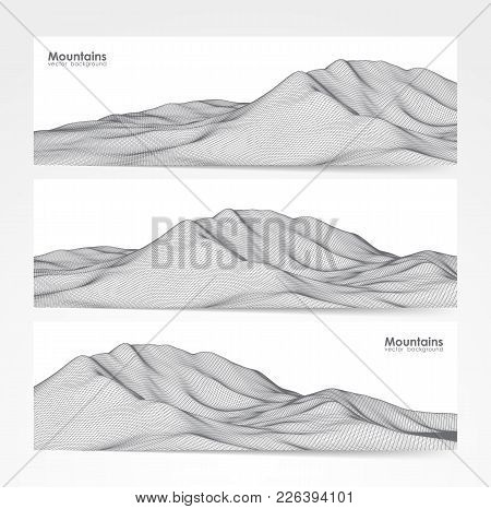 Vector Illustration: Set Of Three Banner Layout With Wireframe Mountains Landscape.