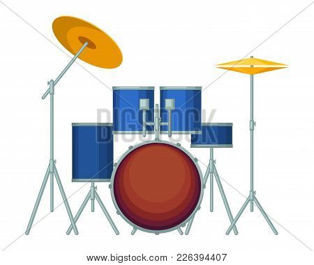 Big Drum Set In Blue Corpus On Metal Stands. Percussion Musical Instrument To Perform On Stage With
