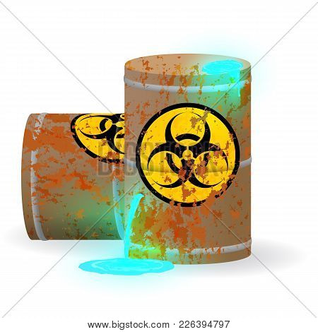 Vector Illustration. Chemical Biological Waste In A Rusty Barrel. Toxic Blue Fluorescent Liquid In A