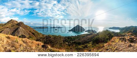 Colorful Sunny Day Panorama At Amelia Sunset Point, Labuan Bajo, Flores Island, Indonesia.