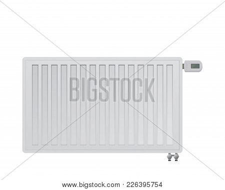 Steel Panel Radiator. Electronic Thermal Head In The Thermostatic Valve. Bottom Right Side Connectio