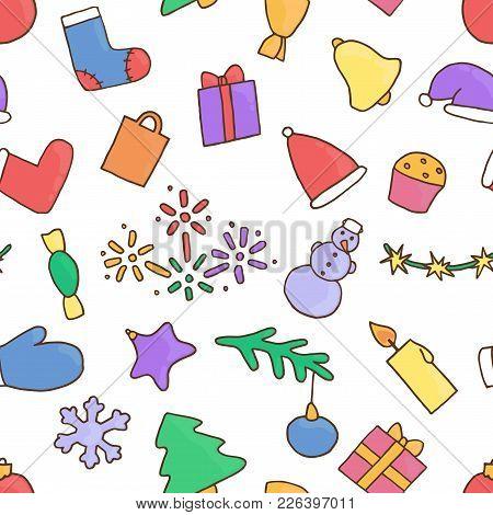 New Year Seamless Pattern Background. Christmas Wallpaper. Textile Eve. Fir-tree, Snowman, Candy, Gi