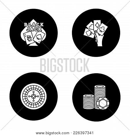 Casino Glyph Icons Set. Blackjack, Four Aces In Hand, Roulette, Stack Of Gambling Chips. Vector Whit