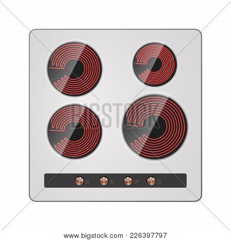 Electric Hotplate Vector Illustration. Cooker Home Equipment.