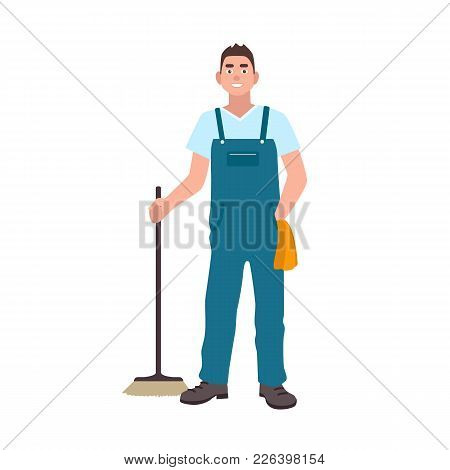 Smiling Man Dressed In Dungarees Holding Scrubber Isolated On White Background. Male Cleaning Servic