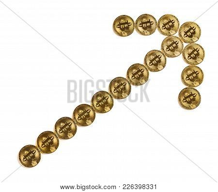 Bitcoins Shaped Like A Climbing Up Arrow With Clipping Path Concept Of Price Increase Of Crypto Curr